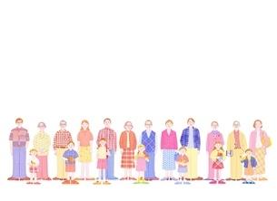 3組の3世代家族のイラスト素材 [FYI01788556]