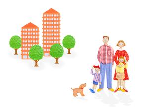 4人家族とマンションの写真素材 [FYI01788682]