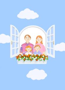 窓辺の家族のイラスト素材 [FYI01788738]