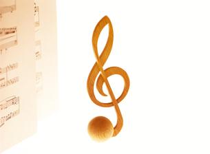 ト音記号と楽譜の写真素材 [FYI01788790]
