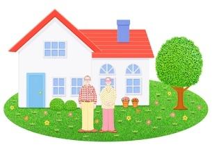 シニア夫婦と1軒家のイラスト素材 [FYI01788799]