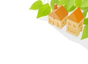 2棟の木の家とポトスのイラスト素材 [FYI01788824]