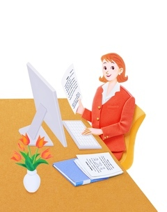 バソコンを操作する女性のイラスト素材 [FYI01788841]