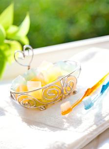 石鹸と歯ブラシの写真素材 [FYI01788925]
