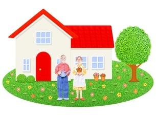 シニア夫婦と1軒家のイラスト素材 [FYI01788975]