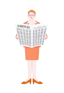 新聞を読むビジネスウーマンのイラスト素材 [FYI01789019]