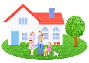 4人家族と1軒家のイラスト素材 [FYI01789062]