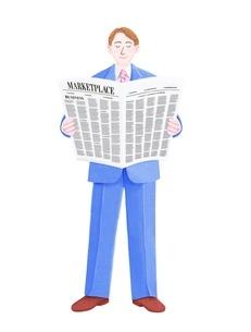 新聞を読むビジネスマンのイラスト素材 [FYI01789099]