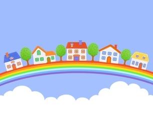 5棟の家と虹と青空のイラスト素材 [FYI01789112]