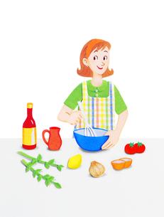 キッチンの若い女性のイラスト素材 [FYI01789137]