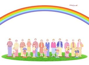 3組の3世代家族と虹のイラスト素材 [FYI01789138]
