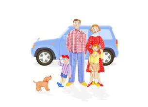 家族4人と車の写真素材 [FYI01789167]