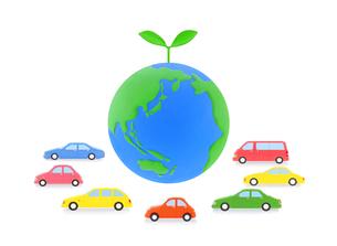 地球と新芽と7台の車の写真素材 [FYI01789202]