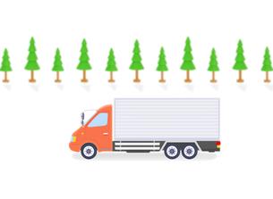 大型トラックと街路樹の写真素材 [FYI01789226]