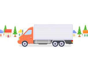 大型トラックと家並みの写真素材 [FYI01789229]