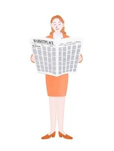 新聞を読むビジネスウーマンのイラスト素材 [FYI01789274]
