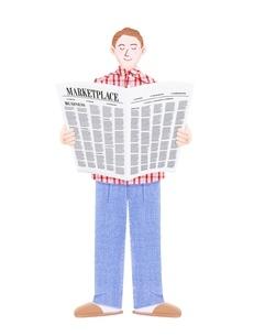 新聞を読む若い男性のイラスト素材 [FYI01789275]