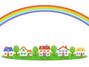 5棟の家と虹のイラスト素材 [FYI01789325]