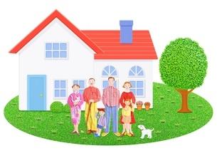 3世代家族と2世帯住宅のイラスト素材 [FYI01789349]