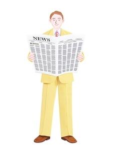 新聞を読むビジネスマンのイラスト素材 [FYI01789355]