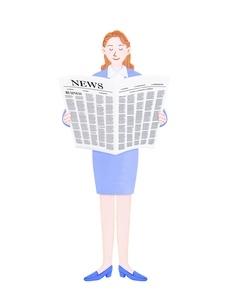 新聞を読むビジネスウーマンのイラスト素材 [FYI01789362]