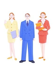 管理職と2人のビジネスウーマンのイラスト素材 [FYI01789413]