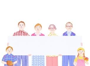 3世代家族とボードのイラスト素材 [FYI01789418]