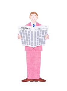 新聞を読むビジネスマンのイラスト素材 [FYI01789421]