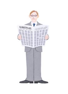 新聞を読むビジネスマンのイラスト素材 [FYI01789422]