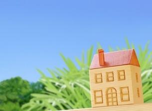 木の家と青空のイラスト素材 [FYI01789431]