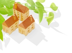 3棟の木の家とポトスのイラスト素材 [FYI01789452]