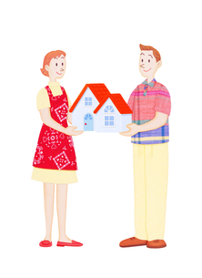 夫婦と住宅の写真素材 [FYI01789486]