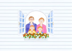 窓辺の家族のイラスト素材 [FYI01789517]