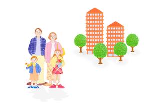 4人家族とマンションの写真素材 [FYI01789542]