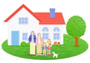 4人家族と1軒家のイラスト素材 [FYI01789546]