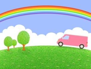 丘を走るピンクのバンと虹のイラスト素材 [FYI01789567]