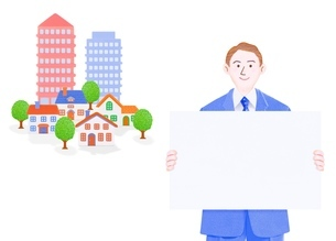 ボードを持つビジネスマンとマンションと1軒家のイラスト素材 [FYI01789629]