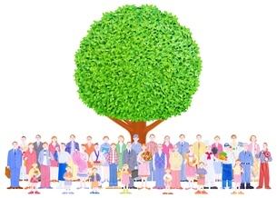 いろいろな人々と大樹のイラスト素材 [FYI01789682]