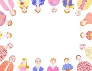 3組の3世代家族の輪のイラスト素材 [FYI01789767]