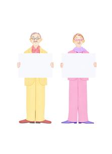 老夫婦とホワイトボードの写真素材 [FYI01789771]