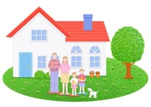 4人家族と1軒家のイラスト素材 [FYI01789878]