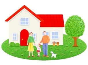 3人家族と1軒家のイラスト素材 [FYI01789882]