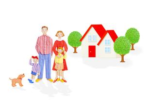4人家族と住宅の写真素材 [FYI01789903]