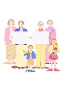 二世帯家族とホワイトボードの写真素材 [FYI01789916]