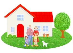 4人家族と1軒家のイラスト素材 [FYI01789926]
