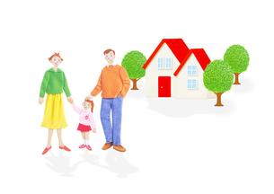 3人家族と住宅の写真素材 [FYI01789936]