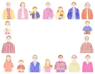 3組の3世代家族のイラスト素材 [FYI01789947]