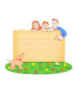 看板と家族とペットのイラスト素材 [FYI01789949]