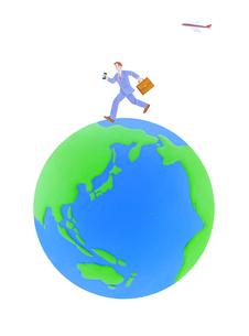 走るビジネスマンと地球のイラスト素材 [FYI01789955]