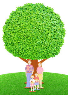 家族4人と大樹の写真素材 [FYI01789960]